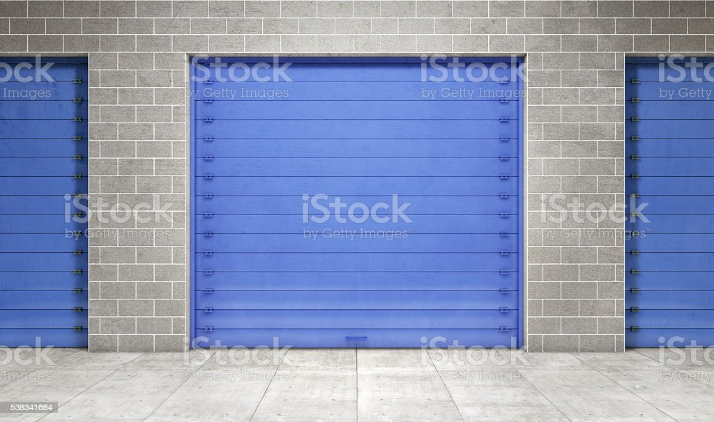 Self storage unit closed. 3d rendering stock photo