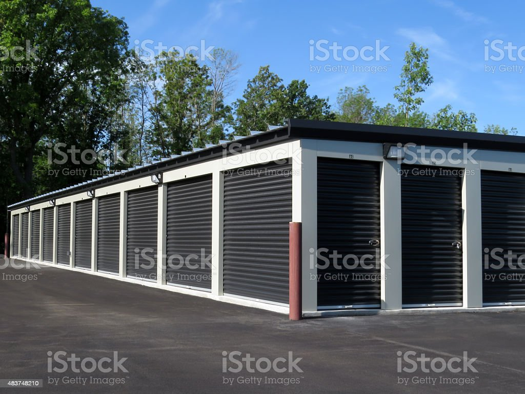 Self Storage Units with Black Doors stock photo