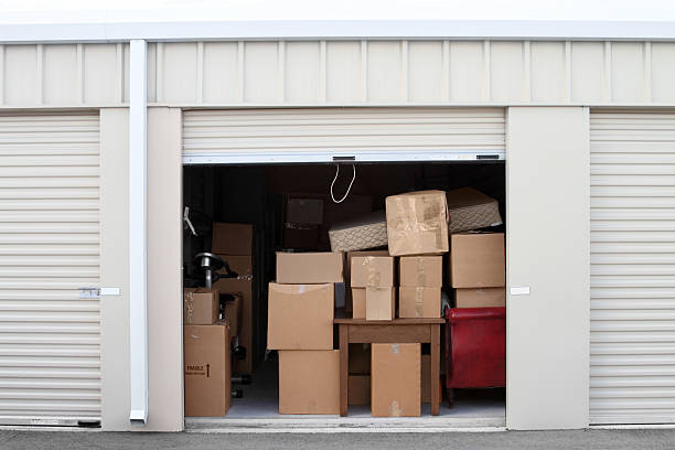 Self storage warehouse building with an open unit. stock photo
