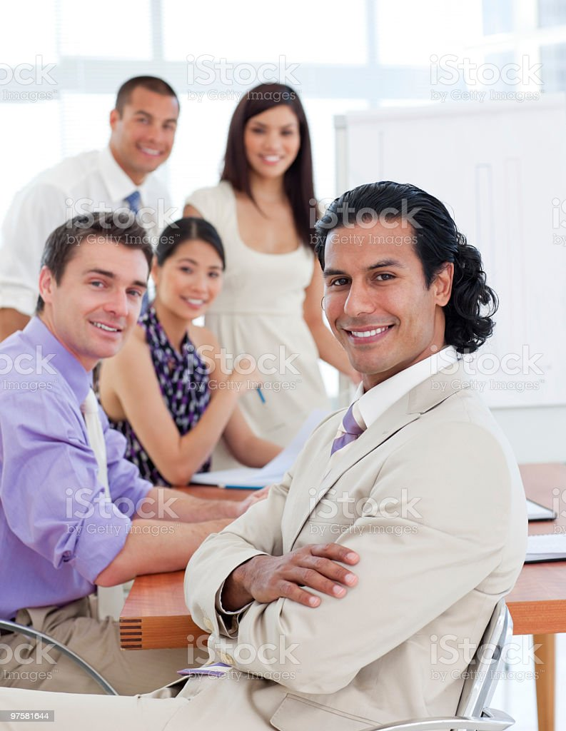 Self-assured businessman in a meeting royalty-free stock photo