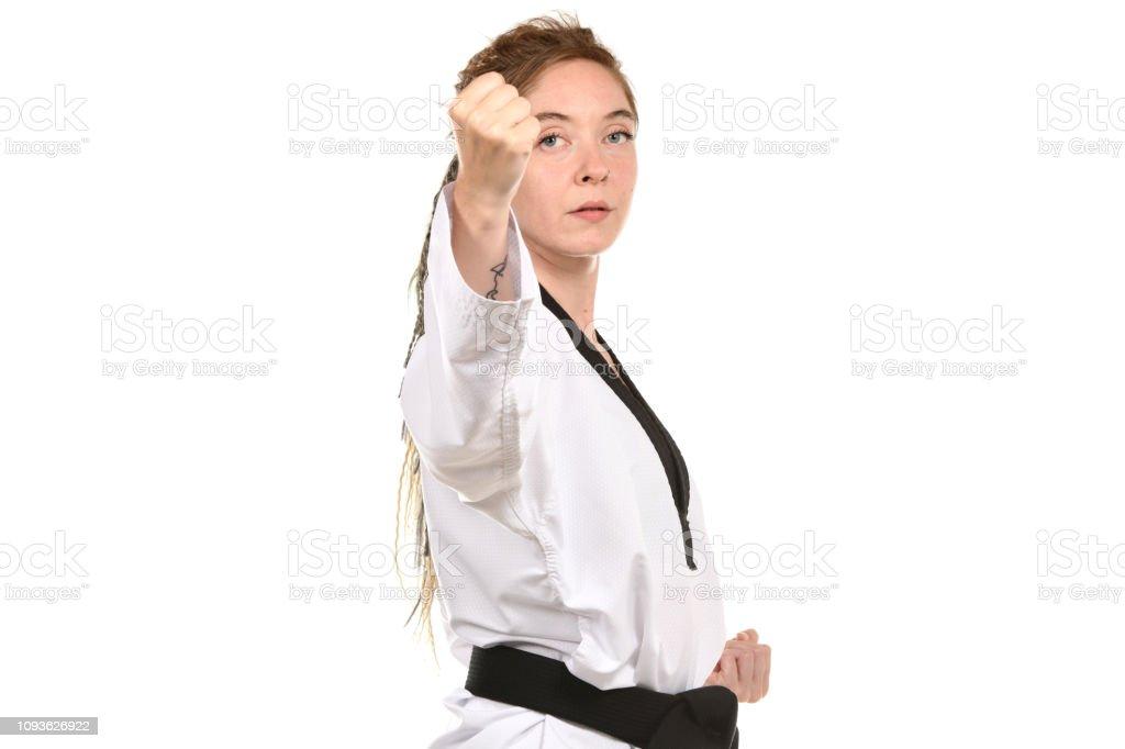 Self-Defense Backfist stock photo