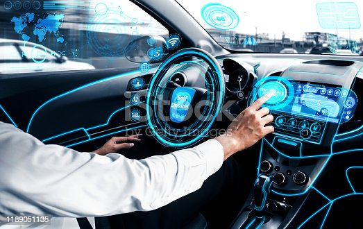 829191978 istock photo Self-drive autonomous car with man at driver seat. 1189051135