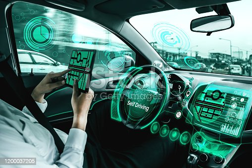 692832436 istock photo Self-drive autonomous car with man at driver seat. 1200037205
