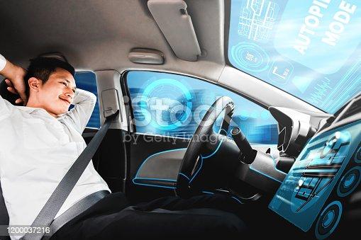 692832436 istock photo Self-drive autonomous car with man at driver seat. 1200037216