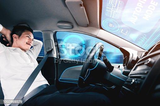 692832436 istock photo Self-drive autonomous car with man at driver seat. 1202869329