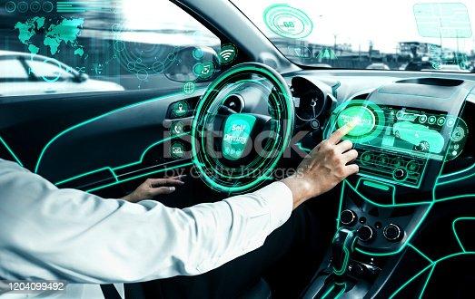692832436 istock photo Self-drive autonomous car with man at driver seat. 1204099492