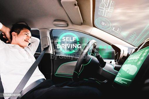 692832436 istock photo Self-drive autonomous car with man at driver seat. 1205639208