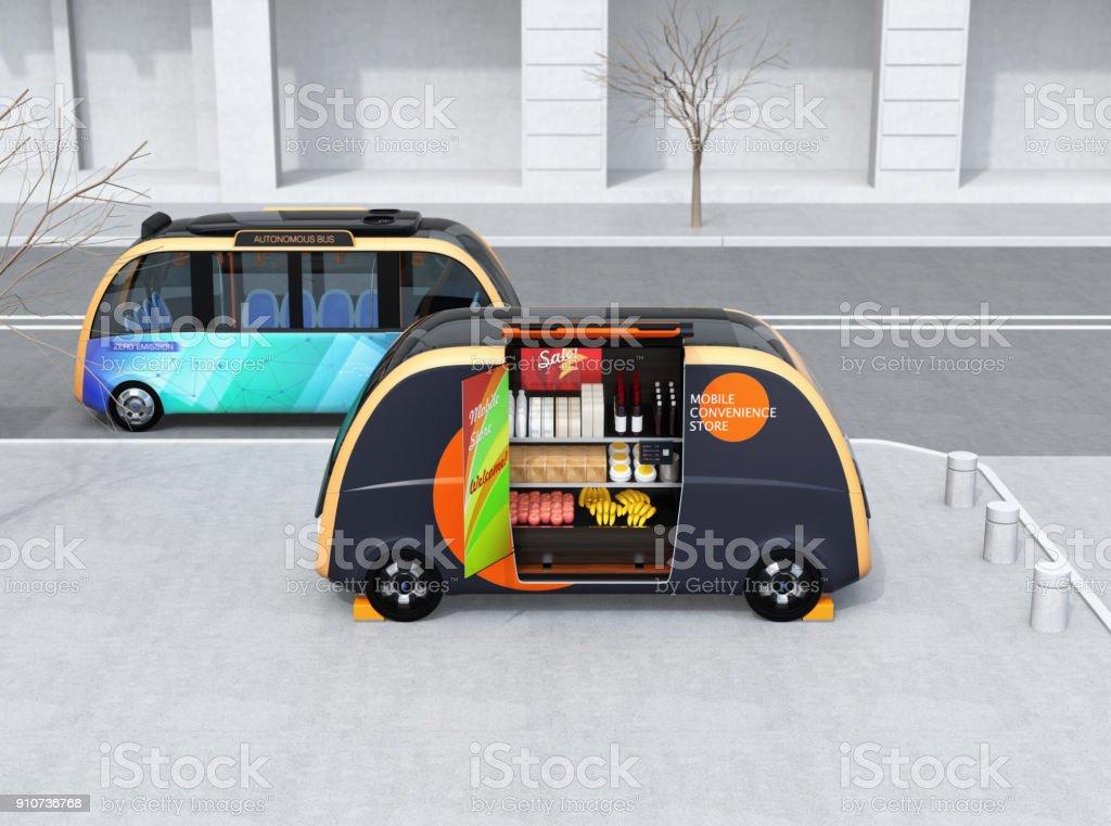 Selbst fahrenden Bus vorbei ein vending Auto auf der Straße – Foto