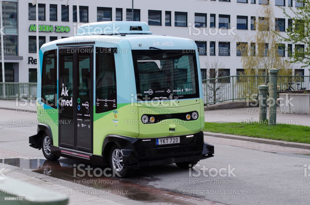 Self-driving bus stock photo