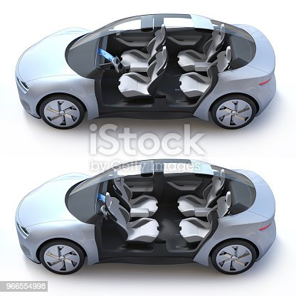 istock Self-driving car 3d concept, autonomous vehicle with rotating seats 966554998