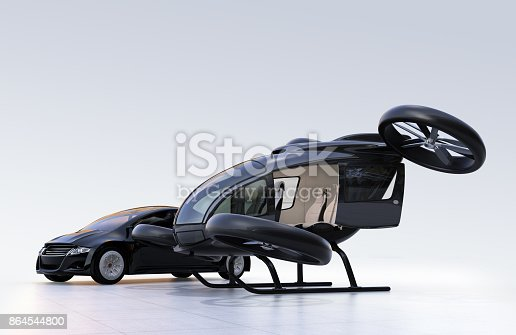 istock Self-driving car and passenger drone parking on the ground 864544800