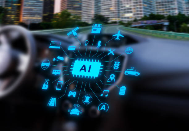 self-driving car with artificial intelligence stock photo