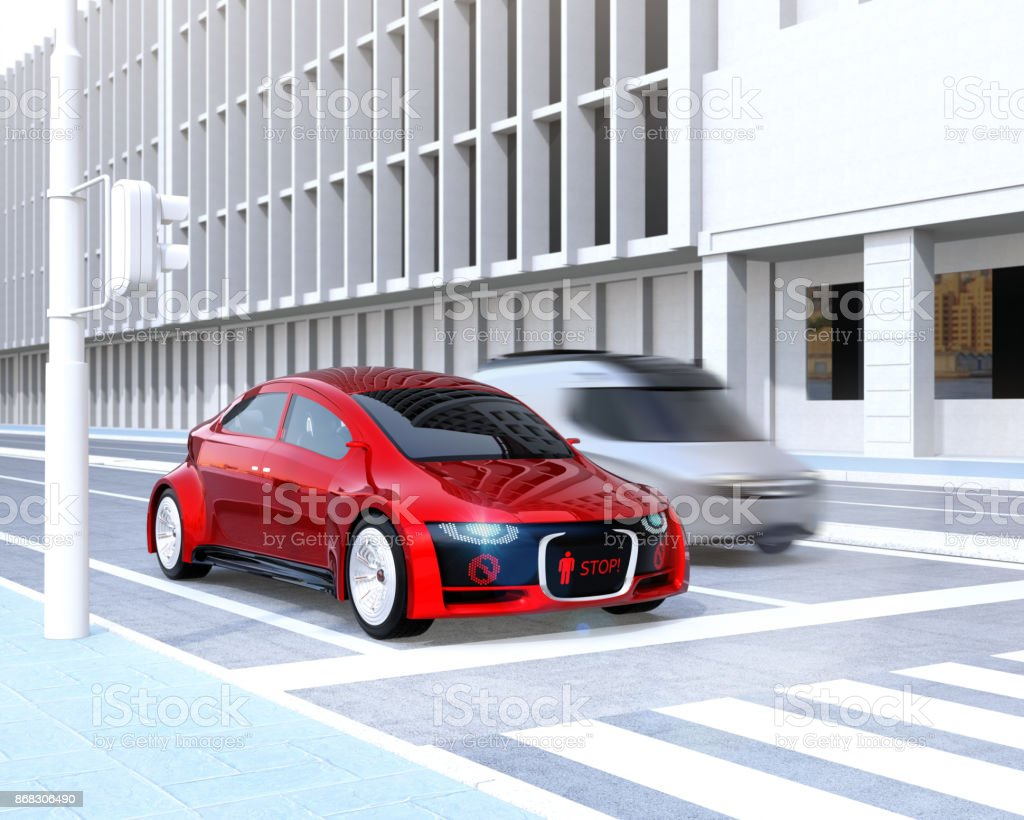 Self-driving car's front grille showing digital signage for pedestrian stock photo