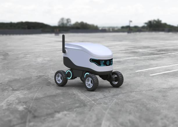 själv kör ande robot koncept - delivery robot bildbanksfoton och bilder