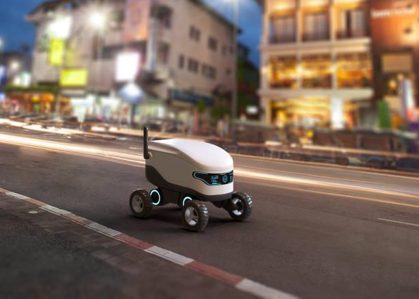 concepto de robot de entrega autoconducido - robot fotografías e imágenes de stock