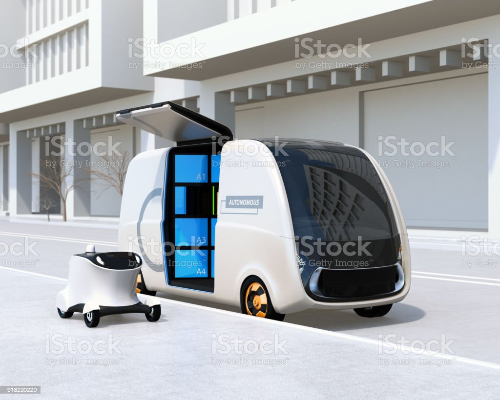 Self-driving delivery van and drone in the street stock photo