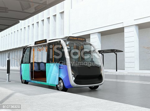 istock Self-driving shuttle bus waiting at bus station 910736320