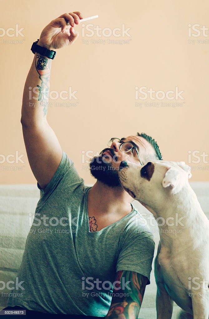 Selfi Man With His Dog. stock photo