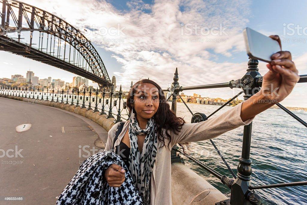 Selfie Aboriginal Woman stock photo