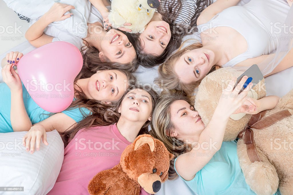 Selfie at Pajama Party stock photo
