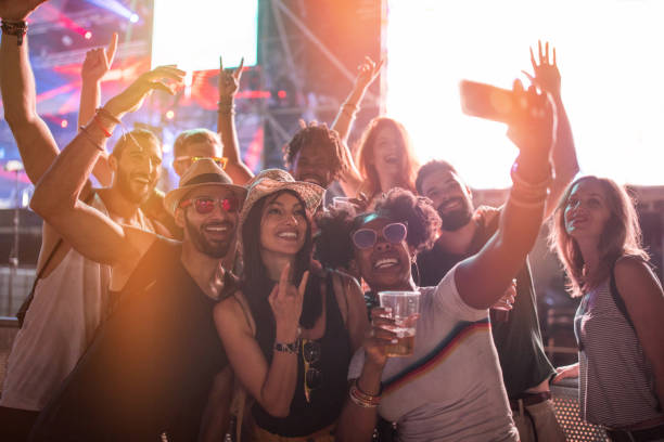 Selfie at summer festival stock photo
