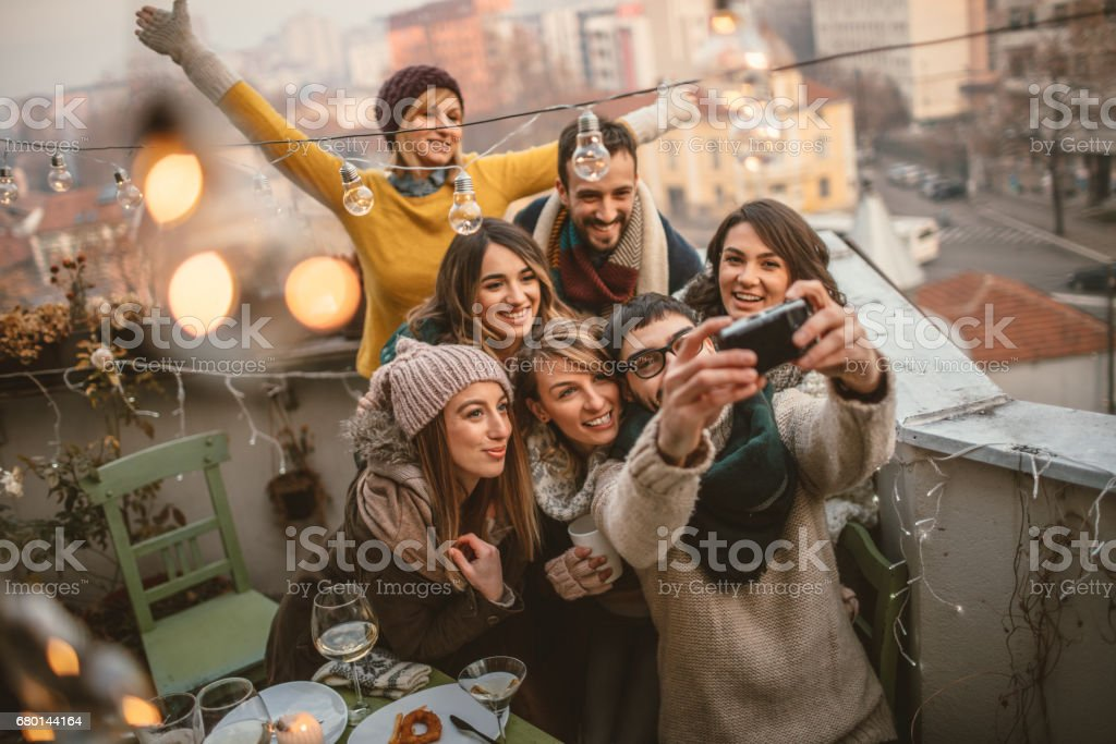 Selfie at the terrace party stock photo