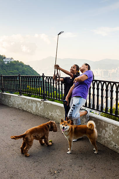 Selfie at Victoria Peak in Hong Kong stock photo