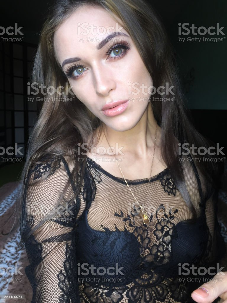 Selfie beautiful young slim girl royalty-free stock photo