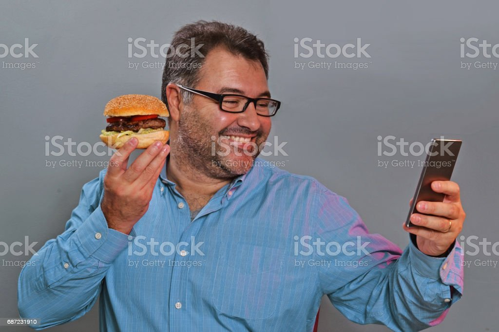 Selfie burger man. stock photo