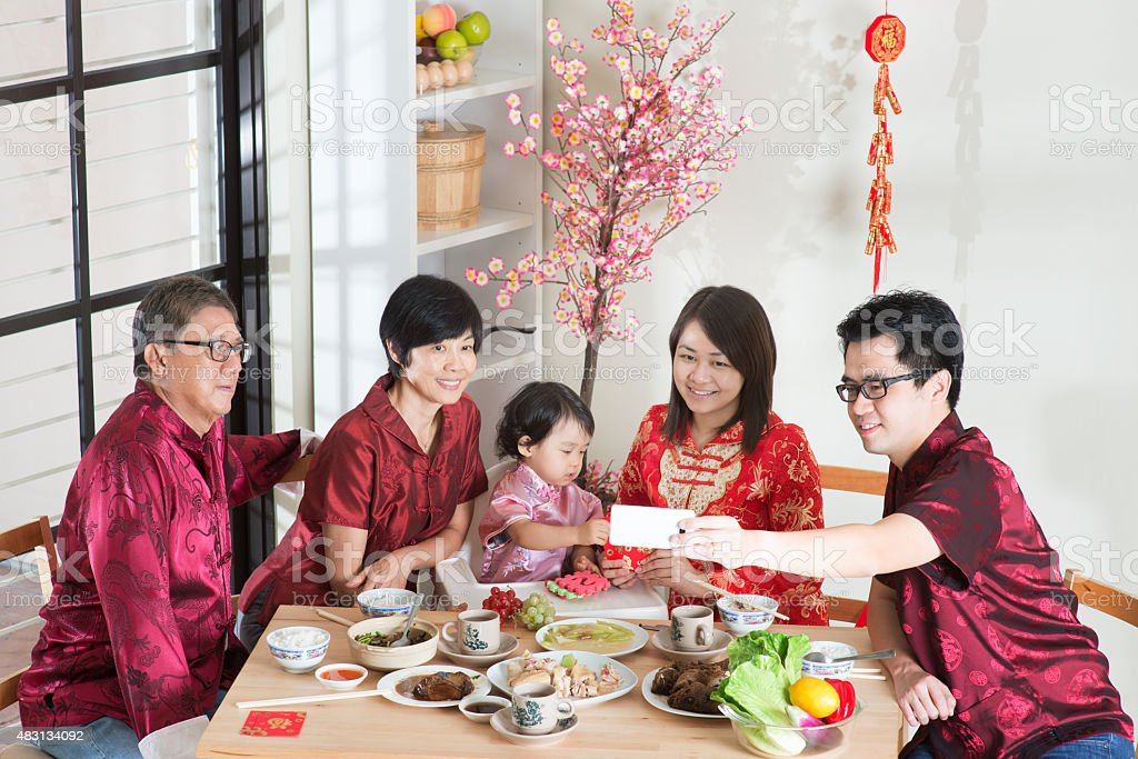 Selfie during Chinese New Year Reunion Dinner stock photo