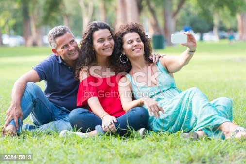 istock Selfie, father, mother and daughter 508445813