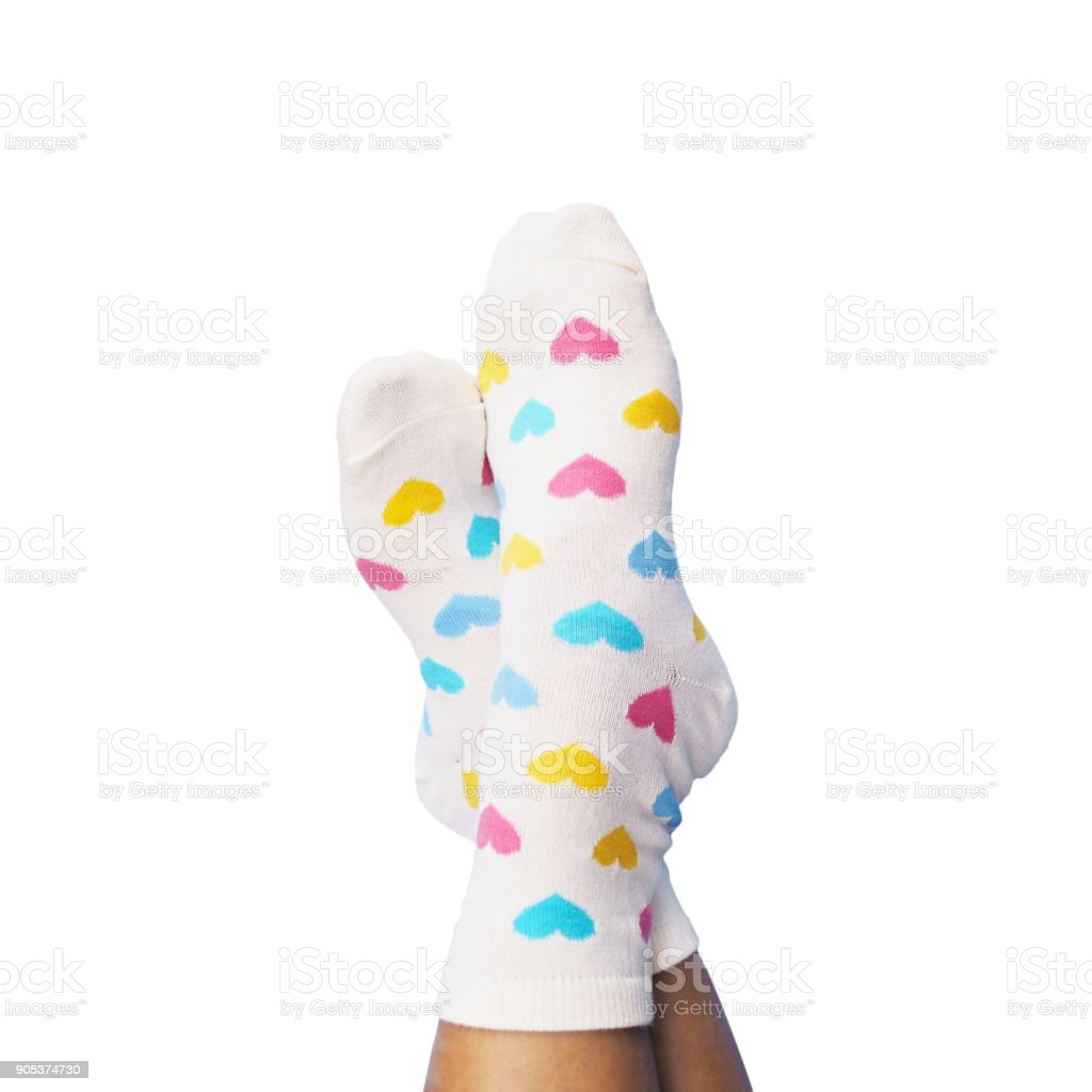 Selfie feet wearing white socks stock photo