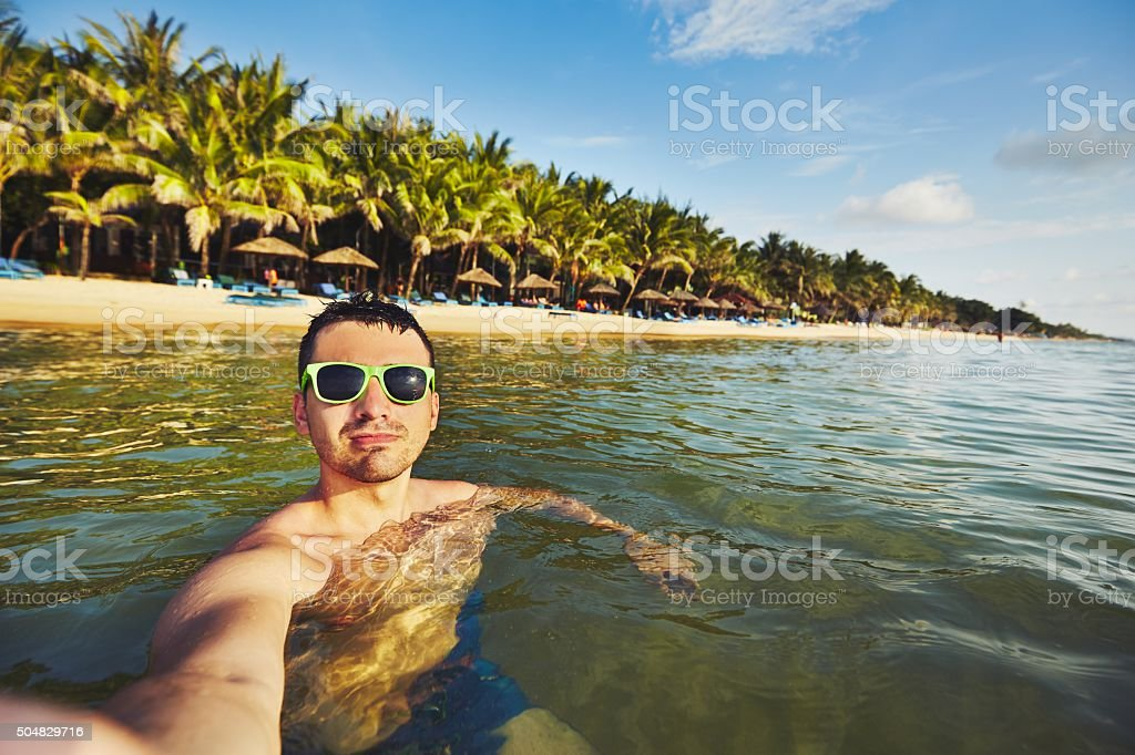 Selfie from the sea stock photo