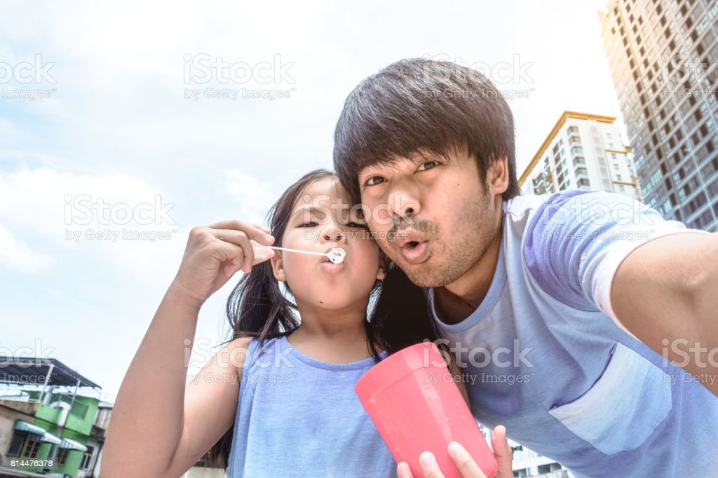 Selfie funny face with my daughter stock photo