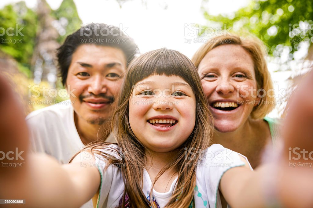 Selfie! Happy family in Kyoto - Japan stock photo