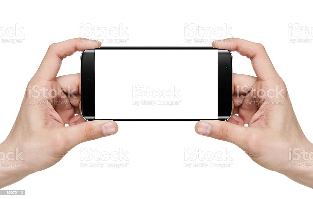 Selfie / Holding blank mobile smart phone stock photo