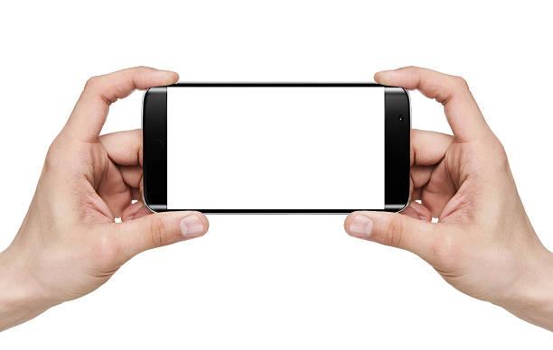 selfie/holding leere mobile smart phone - fotografieren stock-fotos und bilder