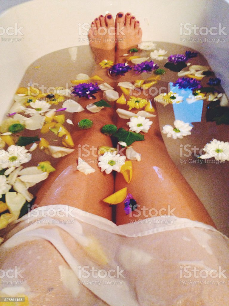 Selfie in a bathtub stock photo