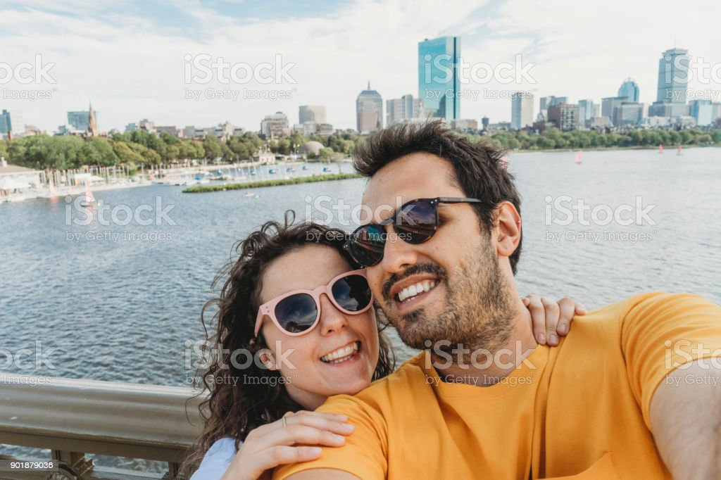 Selfie in Boston stock photo