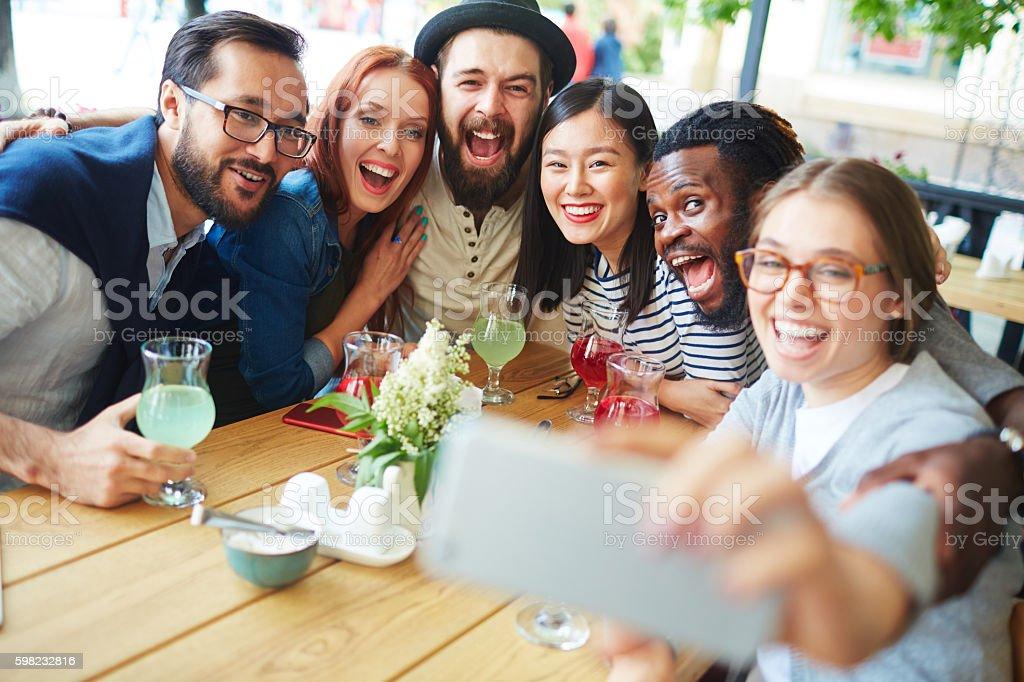 Selfie no cafe  foto royalty-free