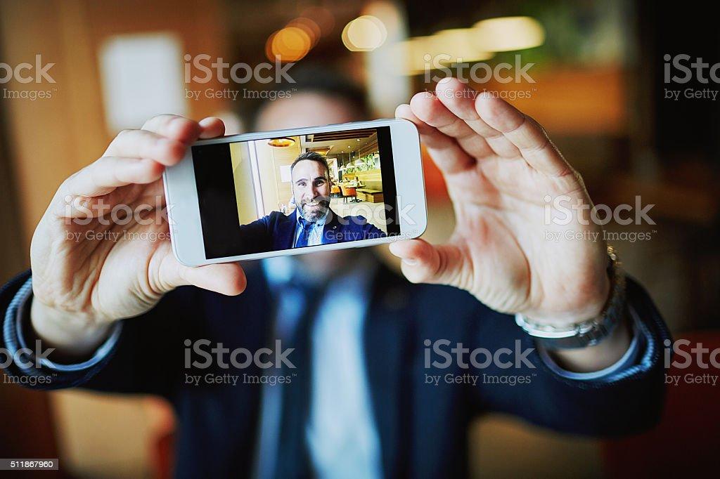 Selfie in cellphone stock photo