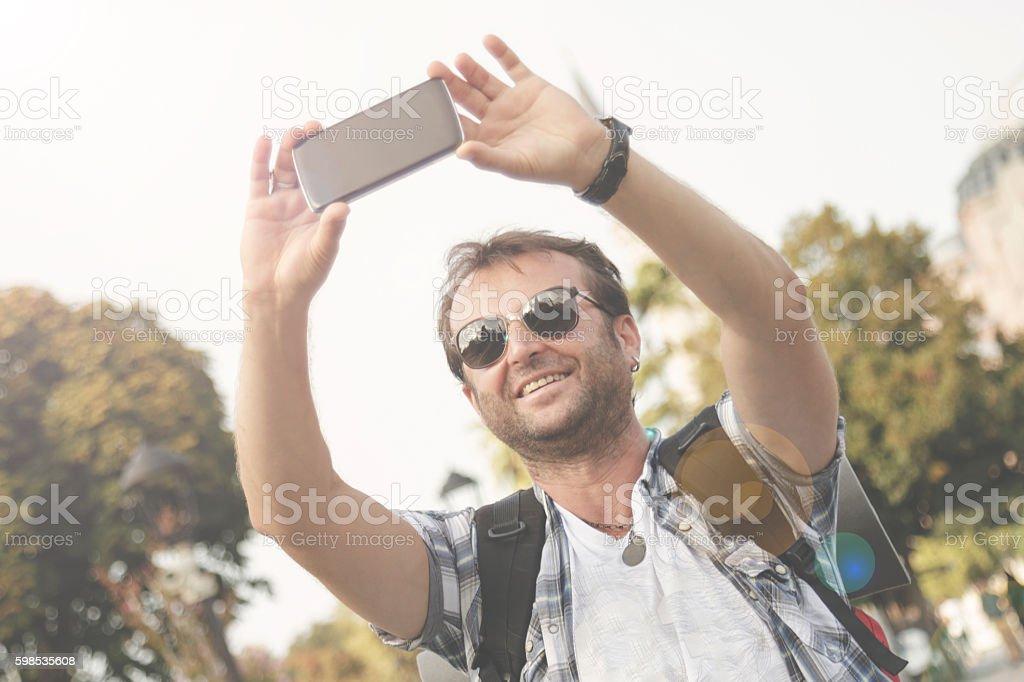 Selfie in front of the Hagia Sophia photo libre de droits