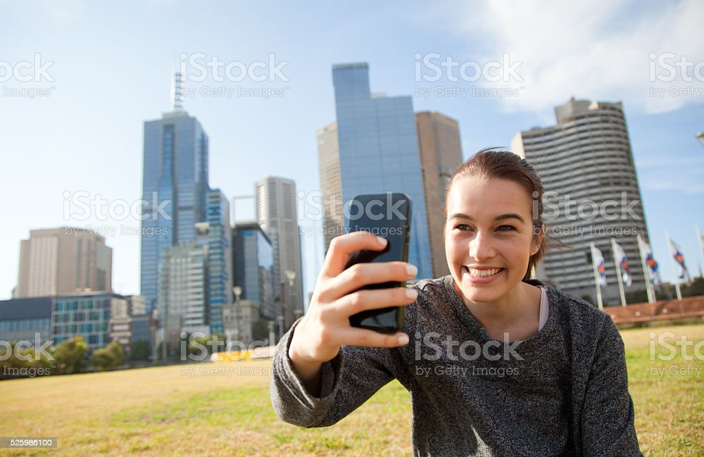 Selfie in Melbourne City stock photo