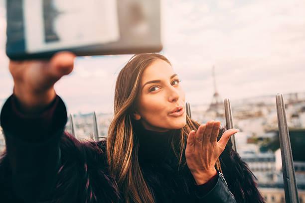 selfie in paris - paris fashion stock photos and pictures
