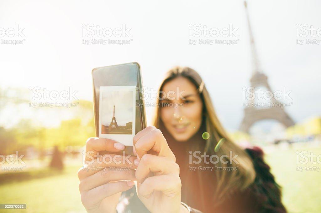 Selfie w Paryżu zbiór zdjęć royalty-free