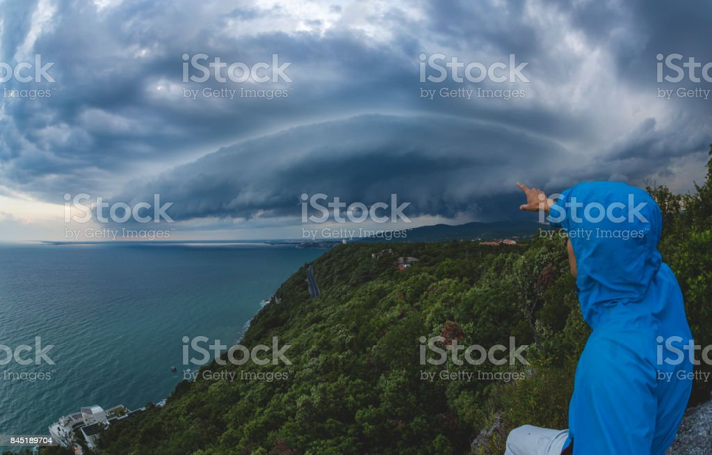 Selfie in the storm stock photo