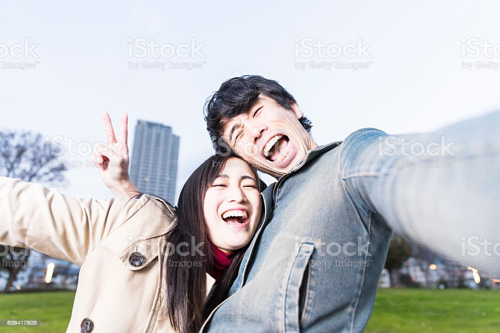 Selfie of a young couple ストックフォト