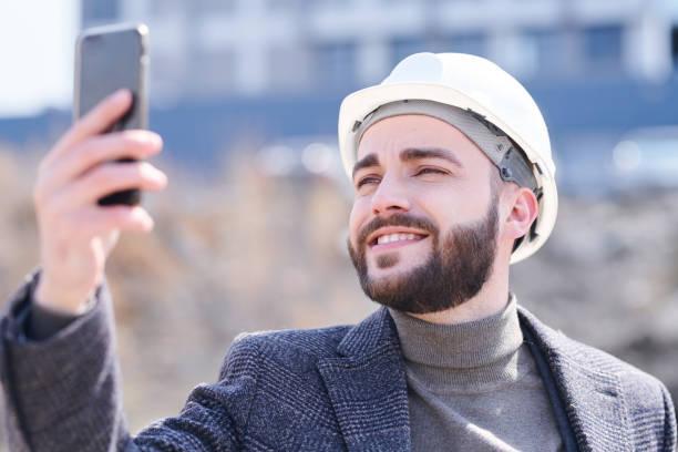 Selfie of engineer stock photo