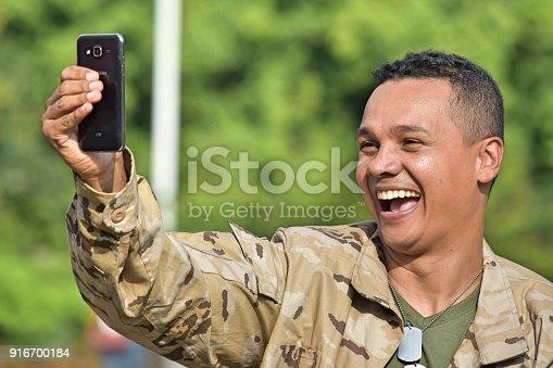 Selfie Of Minority Male Soldier