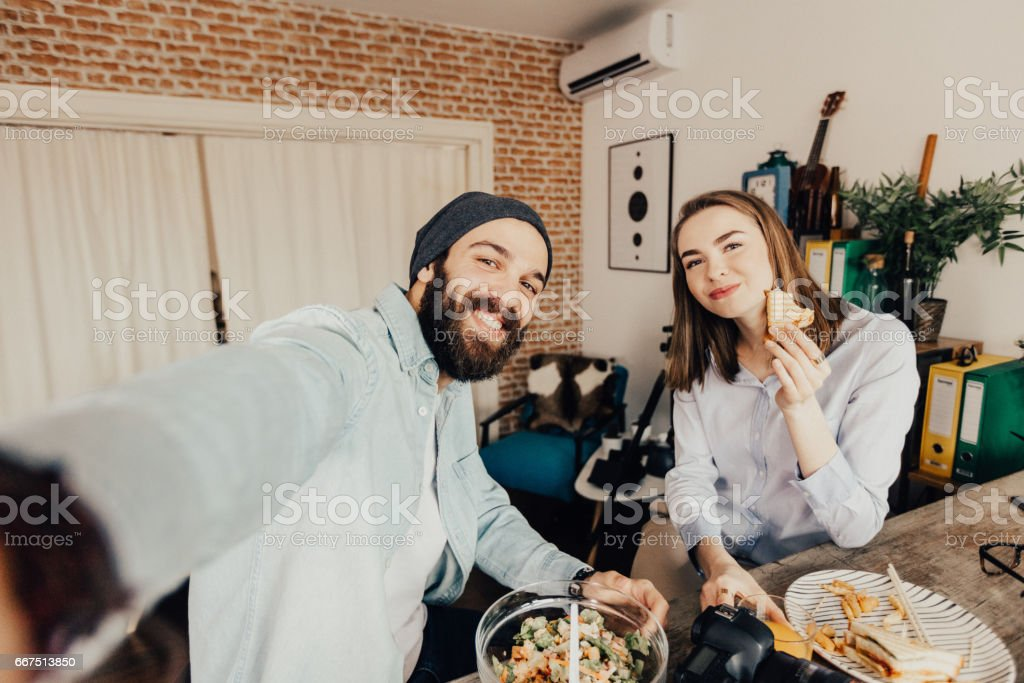 Selfie of two coworkers on a launch break foto stock royalty-free